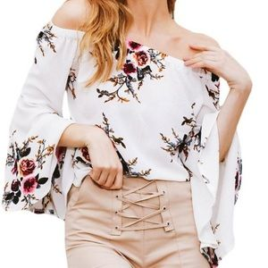 Lord and Taylor off the shoulder floral top